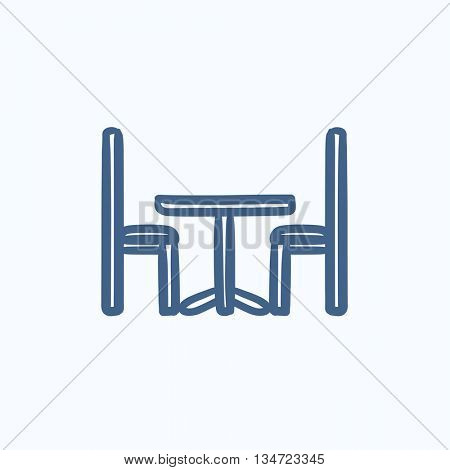 Table and chairs vector sketch icon isolated on background. Hand drawn Table and chairs icon. Table and chairs sketch icon for infographic, website or app.