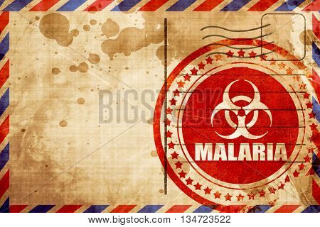 malaria concept background, red grunge stamp on an airmail backg