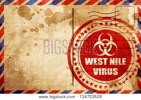 West nile virus concept background, red grunge stamp on an airma