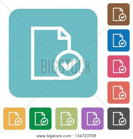 Flat document accepted icons on rounded square color backgrounds.