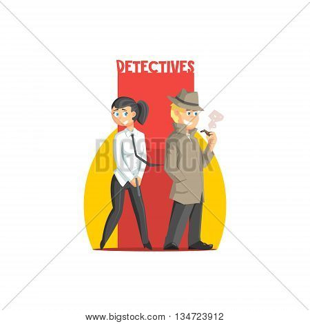 Private Detectives Couple Banner Flat Simplified Colorful Vector Illustration Isolated On White Background