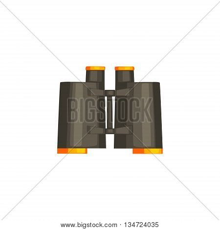 Pair Of Black Binoculars Flat Simplified Colorful Vector Illustration Isolated On White Background