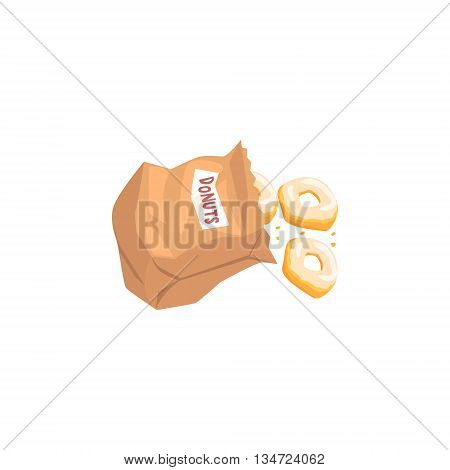 Doughnuts Falling Out From Paper Bag Flat Simplified Colorful Vector Illustration Isolated On White Background