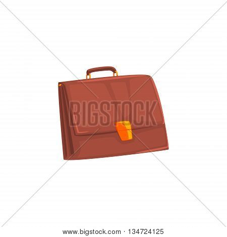 Brown Leather Briefcase Flat Simplified Colorful Vector Illustration Isolated On White Background