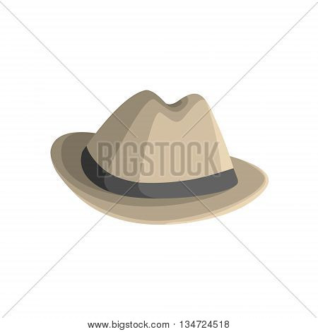 Clasy Hat With Brims Flat Simplified Colorful Vector Illustration Isolated On White Background
