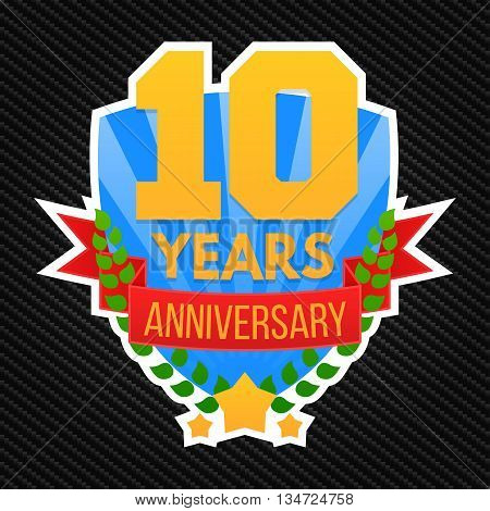10 years anniversary emblem. Logo template, vector, eps 10.