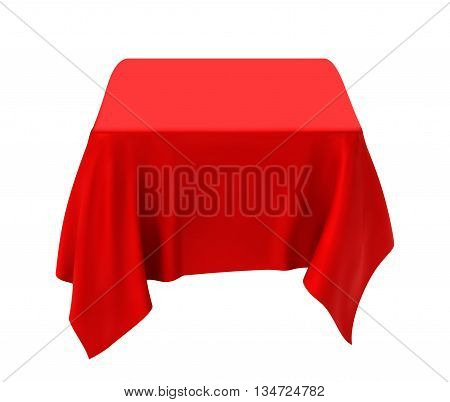 Red tablecloth isolated on a white background