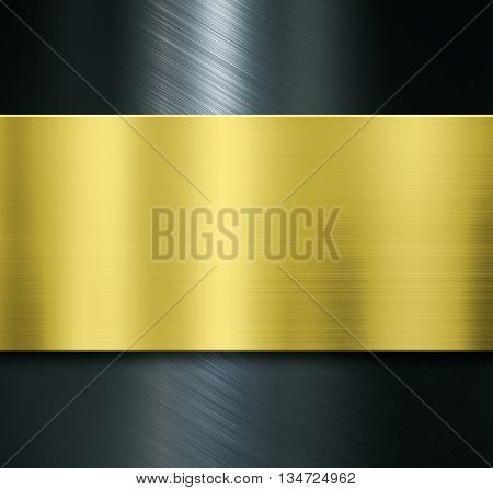 gold metal plate over black metalic background