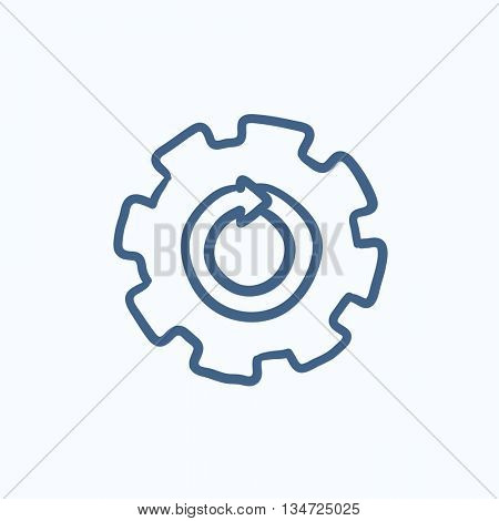 Gear wheel with arrow vector sketch icon isolated on background. Hand drawn Gear wheel with arrow icon. Gear wheel with arrow sketch icon for infographic, website or app.