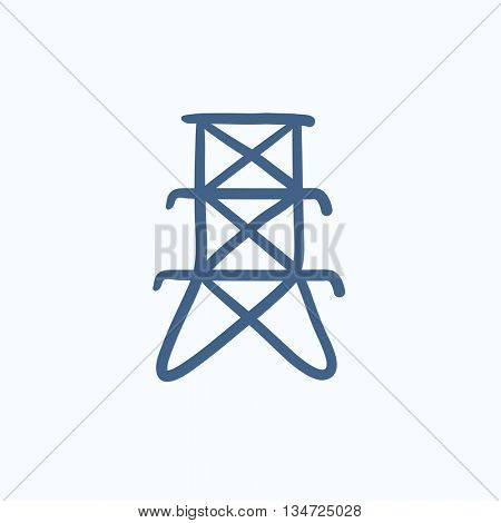 Electric tower vector sketch icon isolated on background. Hand drawn Electric tower icon. Electric tower sketch icon for infographic, website or app.