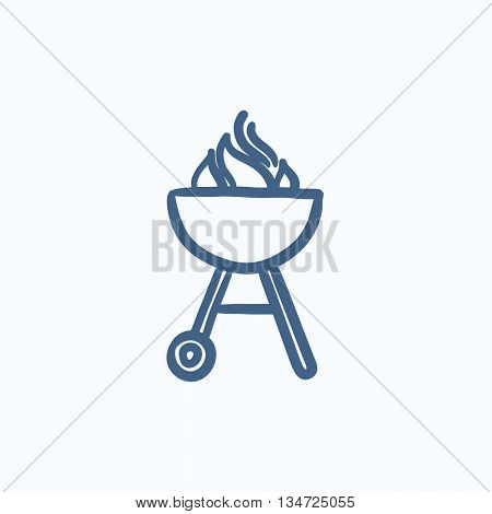 Kettle barbecue grill vector sketch icon isolated on background. Hand drawn Kettle barbecue grill icon. Kettle barbecue grill sketch icon for infographic, website or app.