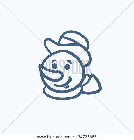 Snowman head vector sketch icon isolated on background. Hand drawn Snowman head icon. Snowman head sketch icon for infographic, website or app.