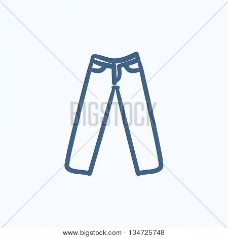 Trousers vector sketch icon isolated on background. Hand drawn Trousers icon. Trousers sketch icon for infographic, website or app.