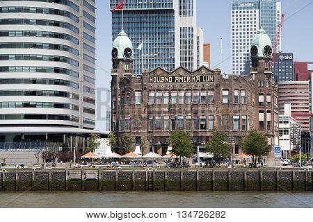 Rotterdam The Netherlands - June 6 2016: Famous hotel restaurant New York in the Rotterdam South (Kop van Zuid) district