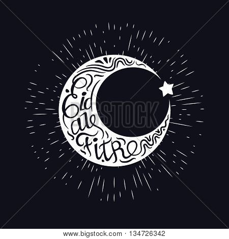 Eid al-fitr vector illustration for the holiday. Silhouettes crescent and star. Calligraphic letters inscribed in the Crescent. Black and white design for the festival.