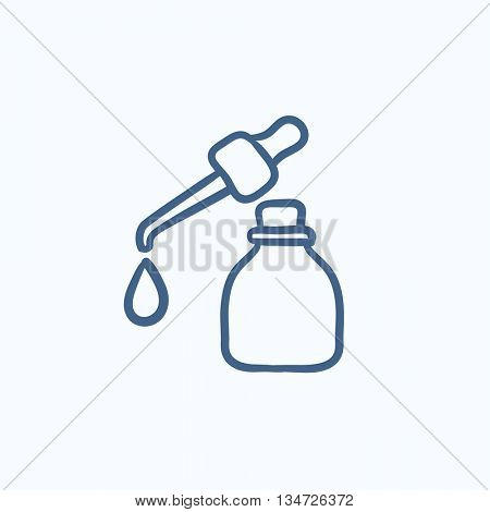 Bottle of essential oil and pipette with drop vector sketch icon isolated on background. Hand drawn essential oil and pipette icon. Bottle of essential oil sketch icon for infographic, website or app.