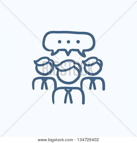 People with speech square above their heads vector sketch icon isolated on background. Hand drawn People with speech square icon. People with speech square sketch icon for infographic, website or app.