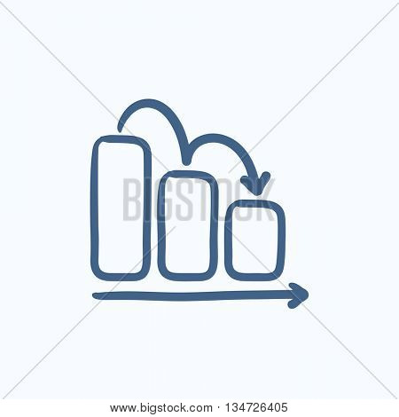 Bar chart down vector sketch icon isolated on background. Hand drawn Bar chart down icon. Bar chart down sketch icon for infographic, website or app.