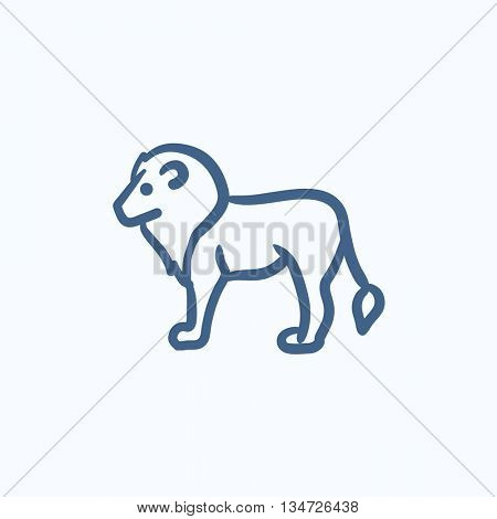 Lion vector sketch icon isolated on background. Hand drawn Lion icon. Lion sketch icon for infographic, website or app.