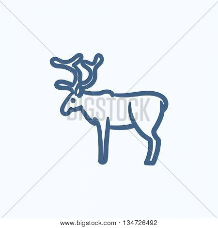 Deer vector sketch icon isolated on background. Hand drawn Deer icon. Deer sketch icon for infographic, website or app.