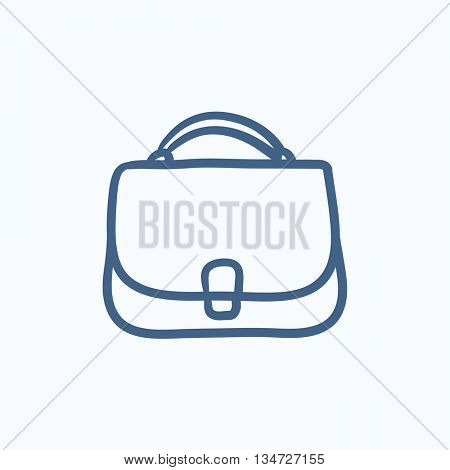 Female handbag sketch icon for web, mobile and infographics. Hand drawn female handbag icon. Female handbag vector icon. Female handbag icon isolated on white background.