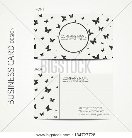 Vector simple business card design. Template. Black and white. Business card for corporate business and personal use. Calling card. Geometric monochrome pattern with butterfly.
