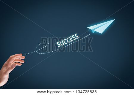 Accelerate success concept. Businessman throw a paper plane symbolizing growing (accelerating) success.