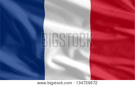Waving flag of French background vector for use