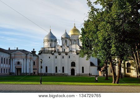 VELIKY NOVGOROD RUSSIA - JUNE 14 2016.Architecture view - St. Sophia Russian Orthodox cathedral at summer beautiful sunset in Veliky Novgorod Russia - orthodox architecture architecture landscape