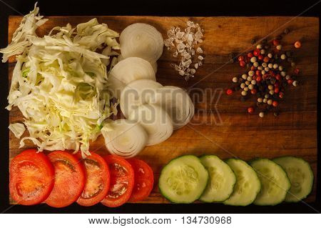 Traditional American Cobb Salad - Colorful entree salad with bacon chicken eggs and tomatoes a main-dish American salad