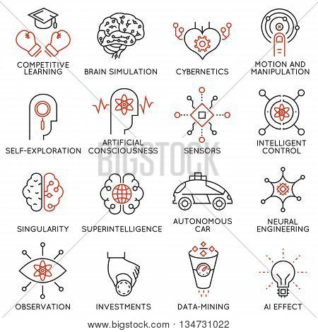 Vector set of 16 thin icons related to artificial intelligence and data science. Mono line pictograms and infographics design elements - part 3