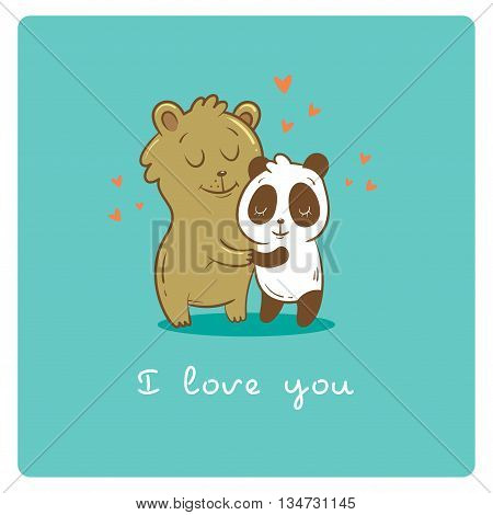 Valentine's card with cute cartoon  bear and panda on  turquoise background. Happy couple. Animals Lovers. Children's illustration. Vector image.