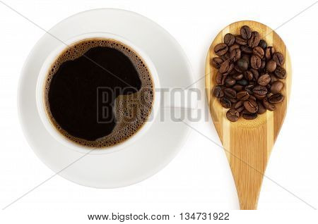 Coffee And Wooden Spoon With Coffee Beans