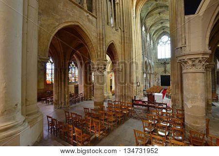 Triel sur Seine France - april 12 2016 : the gothic and renaissance Saint Martin church