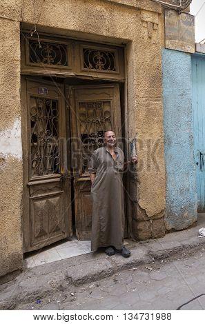 Cairo Egypt - September 26 2015: Friendly Egyptian man in street of Cairo.