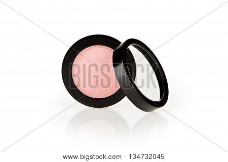 face powder pink blush with cover, isolated on white background