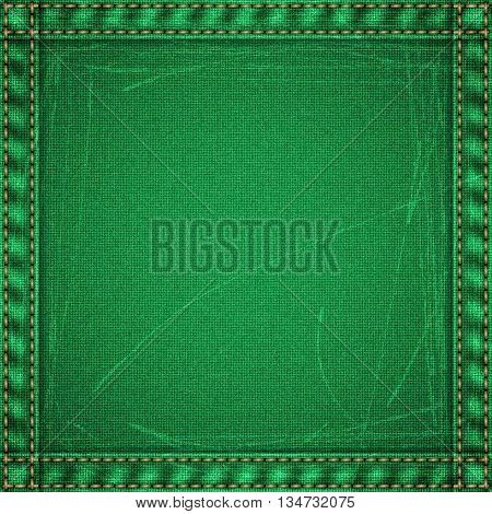 Realistic jeans scuffed texture in green colors with frame from seams and thread stitches. Denim pattern background. Vector illustration