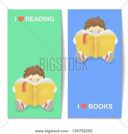 Boy reading a book illustration I Love books vertical banner. Kid learning