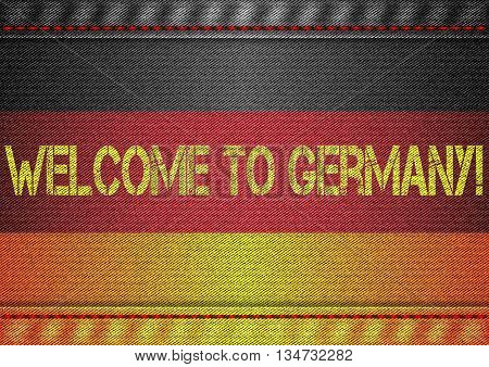 Germany tricolor flag with jeans texture and welcome inscription. Design denim fabric background. Vector illustration