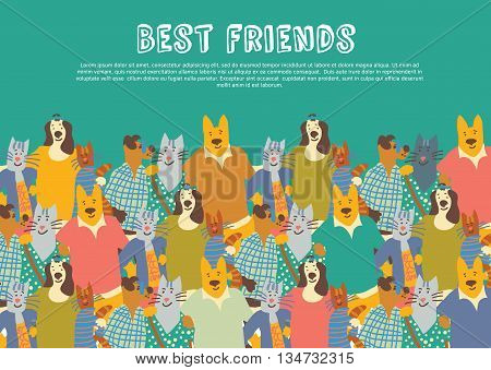 Cats and dogs pets friends big group friendship hugs in sky. Color vector illustration. EPS8