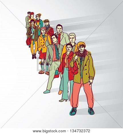 Group people standing in queue tail waiting flat shadow. Color vector illustration. EPS8