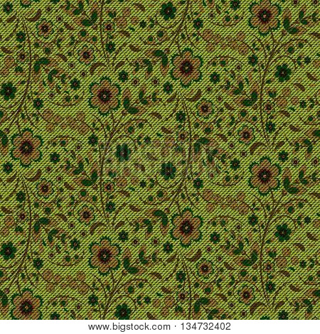 Realistic jeans seamless texture in green colors with floral Khokhloma pattern. Denim background. Vector illustration