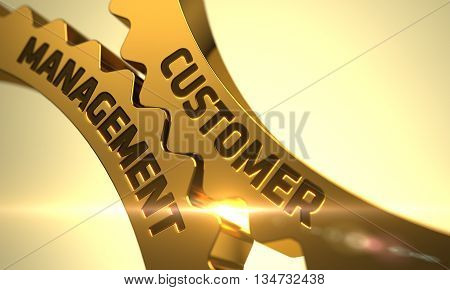 Customer Management - Concept. Customer Management on Mechanism of Golden Metallic Cog Gears with Lens Flare. Customer Management on the Golden Cogwheels. 3D.
