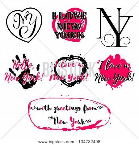 Set of labels with lettering about New York and heart paint splashes in black and pink isolated on white. Collection of souvenir prints for fabric textiles clothing shirts. Vector illustration