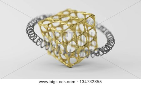3D Computer rendering illustration of skinned particle objects Cube on white background