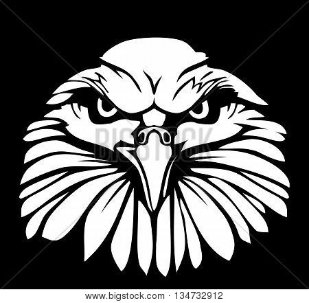 Eagle isolated on black background. Flat vector illustration. For label, logo, web design, brochure, poster