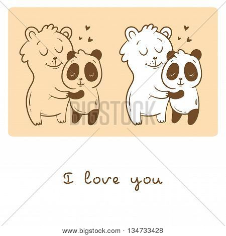 Valentine's set  with cute cartoon  bear and panda.  Happy couple. Animals Lovers. Children's illustration. Two variants vector contour  image, transparent  background and white fill.