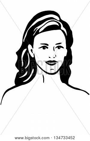black and white vector sketch of a beautiful girl with brunette hair