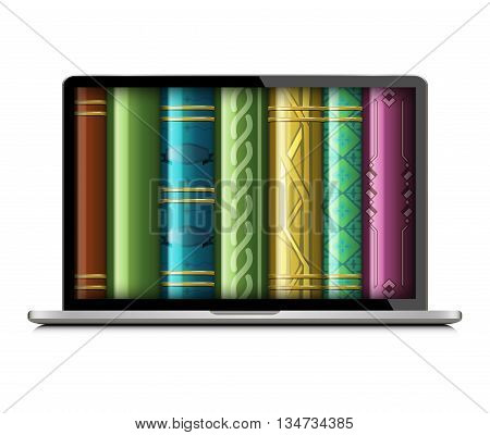 Stack of multi colored books isolated on a white background