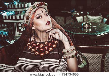 portrait of a beautiful girl in a turban
